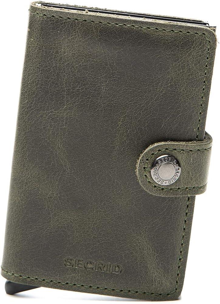 Secrid – porta carte di credito rigido, portafoglio, in pelle e alluminio MV-Olive-Black