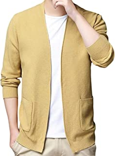 DSKEFE Men Knitted Open Front Pure Color Slim Fit Classic Pockets Sweater Cardigan