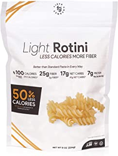Fiber Gourmet Pasta – Light Rotini Pasta – Fiber-Rich, Low Calorie, Healthy Pasta – Made in USA, Kosher, Vegan Certified, ...