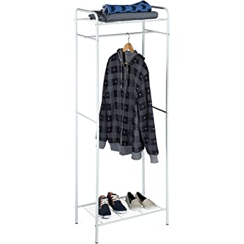 metallo HxLxP Relaxdays Stand appendiabiti SANDRA con mensola inferiore per scarpe bianco-grigio 166 x 60,5 x 38 cm