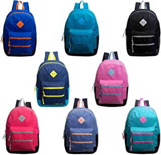 24 Pack - 17 Inch Bulk Backpacks with Dual Front Zipper Pockets in Assorted Colors - Wholesale Case of Bookbags