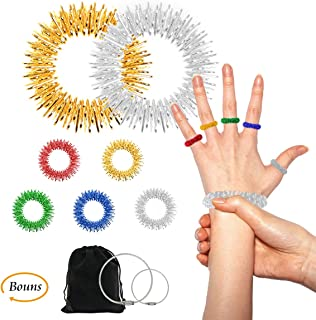 Acupressure Rings and Bracelets Massagers Set for Finger and Hand Wrist Massage Pain Relief