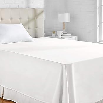 AmazonBasics - Sábana encimera (algodón satén 400 hilos, antiarrugas), 230 x 260 + 10 cm - Blanco: Amazon.es: Hogar