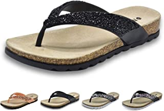 Womens Fashion Rhinestone Flip Flops Arch Support Comfortable Soft Beach Thong Sandals Shoes Non Slip