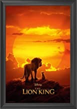 The Lion King Disney Movie Wall Art Decor Framed Print | 24x36 Premium (Canvas/Painting Like) Textured Poster | Simba & Mufassa Classic Sunset Scene | Merchandise Gifts for Guys & Girls Bedroom