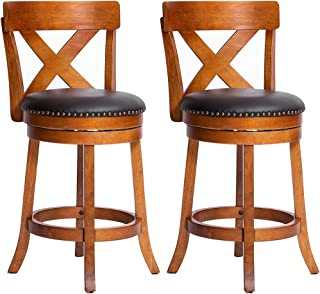 Furgle Set of 2 Swivel Bar Stool 24-inch Solid Wood Upholstered Counter Height Bar Stool PVC Leather Cushioned Seat w/Brass Nailhead Studs for Kitchen Island, Counter, Pub or Bar - Light Oak