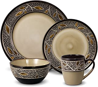 gourmet basics alexandria 32 piece dinnerware set brown