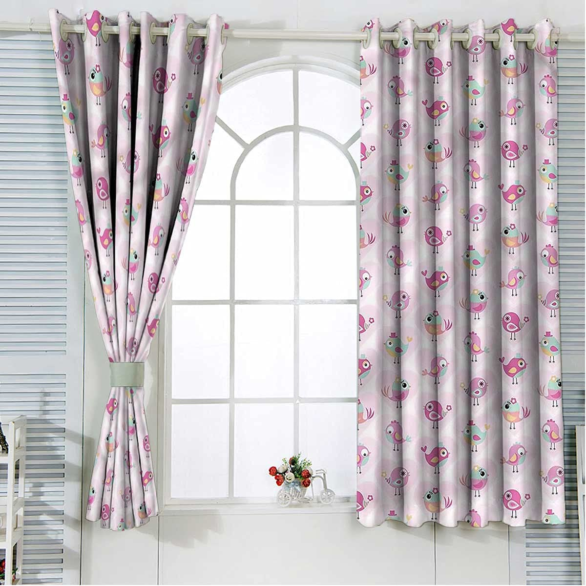 Love Door Window Curtains 108 Inch Birds Cute Length Ranking TOP5 Pink Regular dealer Hearts