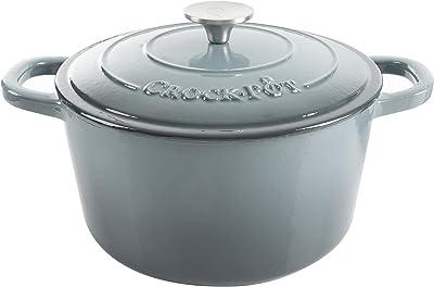 Crock Pot Artisan 5 Quart Enameled Cast Iron Round Dutch Oven, Slate Gray