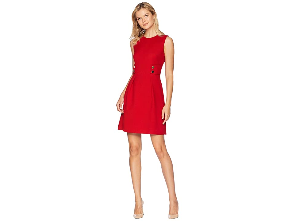 Anne Klein Twill Fit Flare Dress with Gold Buttons (Marine Red) Women