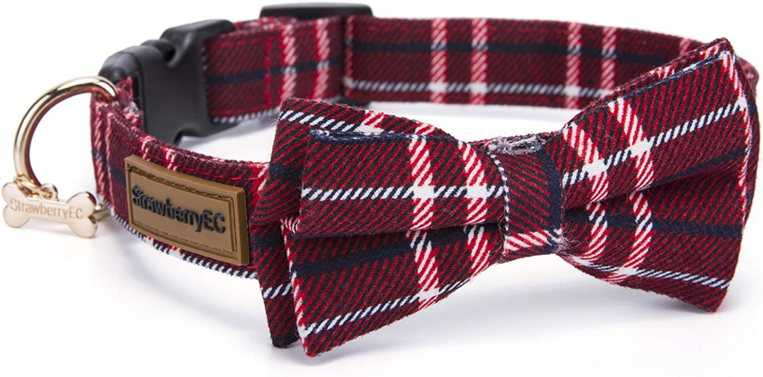 Adjustable Collar for Medium Dogs. Cute Unique Plaid of Durable Polyester Fabric Blend. for Male and Female from StawberryEC (M, Red Plaid)