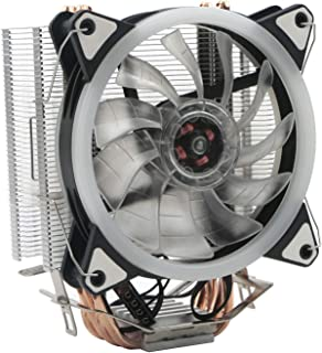 JIUWU CPU Fan Air Cooler 4 Heatpipes with 3 92mm Towers and Fans and Blue LED for Intel AMD (AM4 Compatible)
