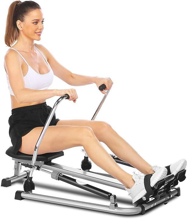 Vogatore fitness idraulico per casa 12 livelli di resistenza,cuscino e display digitale carico massimo:220ibs B08S3KGRNW