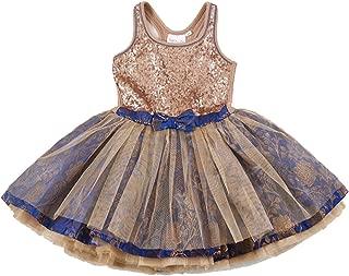 Ooh la la! Couture Royal Blue/Rose Gold Sequin Tie Bow Dress