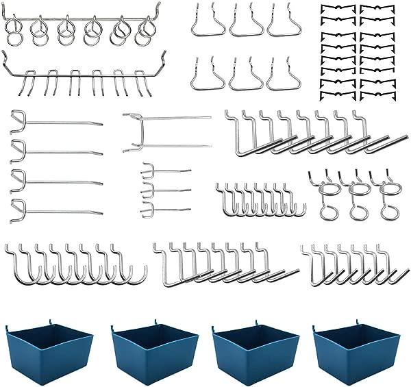 90 个钉板挂钩分类与钉板箱钉锁配件车库厨房车间组织工具