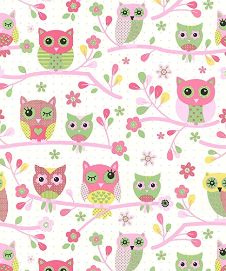 Debona My Room Owls Birds Tree Branches Floral Forest Print Childrens Wallpaper Pink 6327 Amazon Co Uk Diy Tools