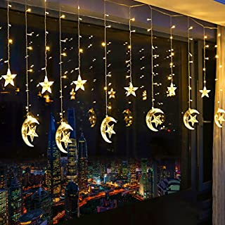 138 LED Star Curtain Lights, Window Curtain String Light Moon Star String Lights with 2 Charging Ways(Batteries/USB) for Wedding Party Home Garden Bedroom Outdoor Indoor Wall Decorations (Warm White)