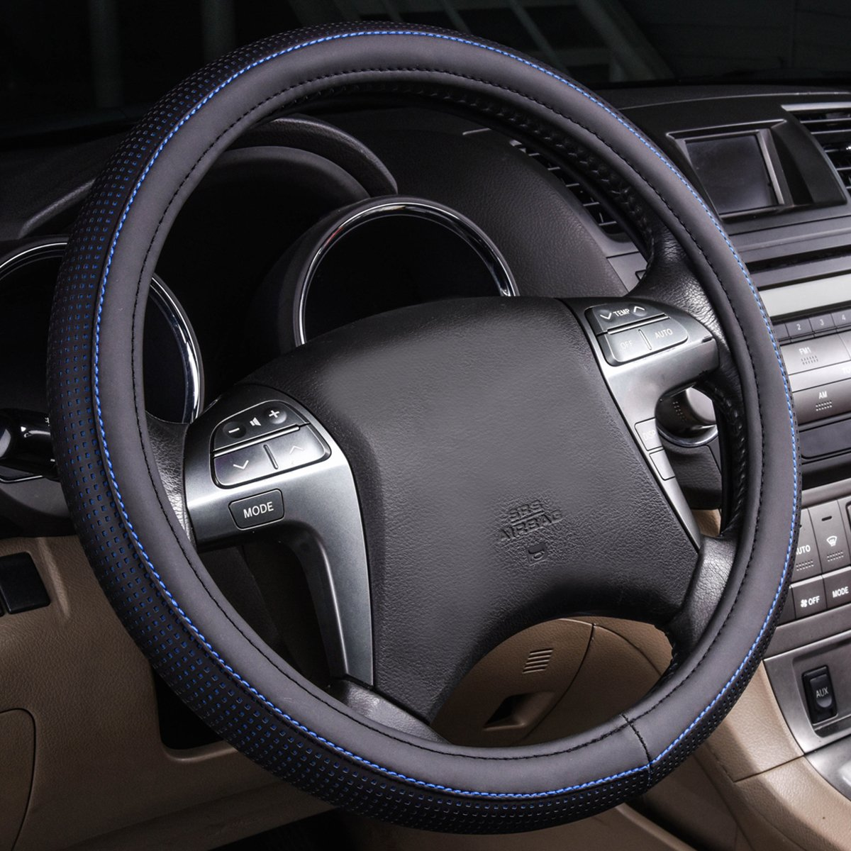 Cars,Suvs,Sedans,Trucks LJ CAR PASS Double Layers Cool Universal Leather Steering Wheel Cover with Perforated Breathable Design Sky Blue
