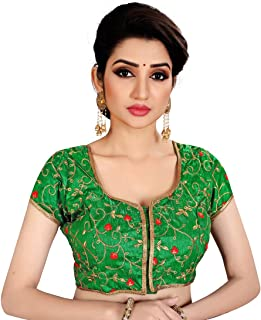 Ocean Fashion Women's Brocade and Georgette Flower Embroidered Round Neck Readymade Saree Blouses (Blue; XXL)
