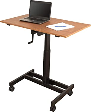 "Single Column Crank Adjustable Stand Up Desk (40"", Black Frame/Teak Top)"