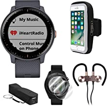 Garmin Vivoactive 3 Music GPS Smartwatch w/Deco Gear Runner Bundle - Blue+Rose Gold