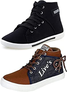 ETHICS Men's Perfect Combo Pack of 2 Leather Multicolored Casual Sneakers Shoes for Men's