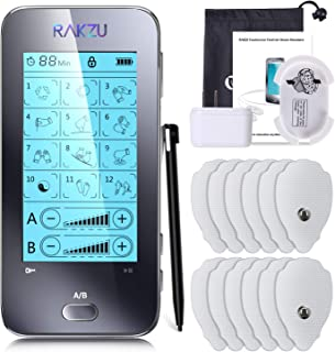 RAKZU Touchscreen Tens Unit, Dual Channels TENS EMS Electro Muscle Stimulator Unit Fully Isolated with Independent 12 Modes for Pain Relief Therapy with 12 Electrodes Pads for Father's Day Gift Ideal