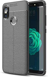 Xiaomi Mi A2 case rubber leather pattern litchi Soft TPU Shockproof cover - Grey