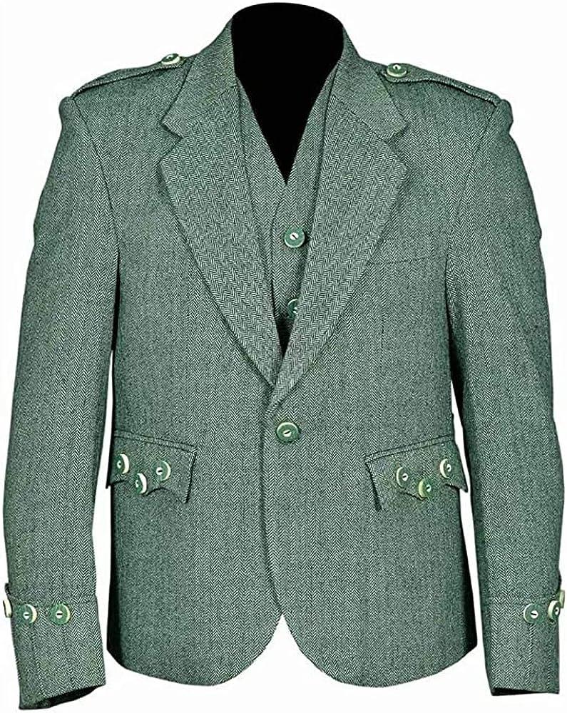 MasonicDirect Tweed Crail Highland Lovet Green Kilt Scottish Traditional Jacket and Waistcoat Wedding Dress