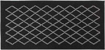 JVL Bergamo Backed Machine Washabe Entrance Runner Mat, Polypropylene/Latex, Black/Grey, 57 x 120 x 1.2 cm