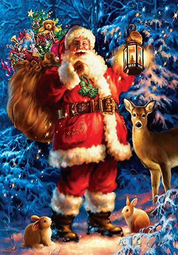 KXCFCYS DIY 5D Diamond Painting Kit Diamond Embroidery Painting Pasted Paint by Number Kits Stitch Craft Kit Home Decor Wall Sticker - Santa Claus1 (SK007)