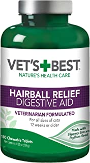 Vet's Best Cat Hairball Relief Digestive Aid| Vet Formulated Hairball Support Remedy | Classic Chicken Flavor | 180 Chewab...