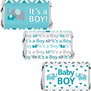 Teal Blue Elephant Boy Baby Shower Mini Candy Bar Wrappers - 45 Stickers