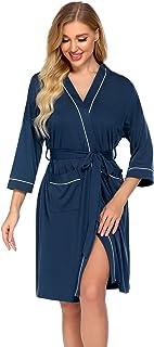 Ekouaer Womens Robe Cotton Kimono Bathrobe Lightweight Knee Length Loungewear Half Sleeve Sleepwear with Pockets S-XXL