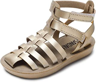 SANDALUP Toddler Girls and Boys Closed-Toe Mini Strappy Roman Sandals Summer Shoes for Toddler Kids