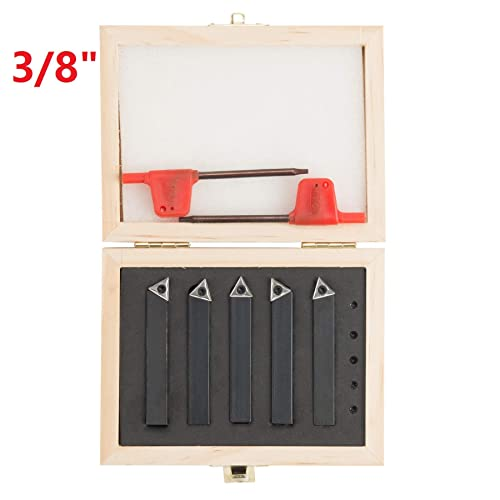 """NEW 5pc  1//4/"""" MINI LATHE INDEXABLE CARBIDE INSERT TOOL BIT SET BY CENTRAL MACH."""