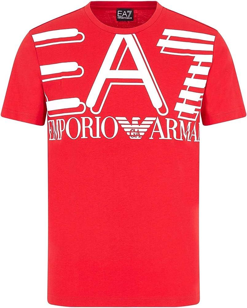 Emporio armani ,t shirt ea7 per uomo, maniche corte,100% cotone 3HPT09