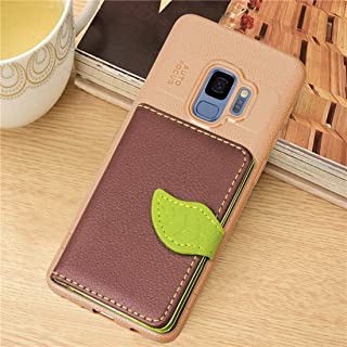 Protective Case Compatible with Samsung Leaf Style Magnetic Leather Case Compatible Galaxy S9 with Holder & Card Slots & Wallet & Photo Frame Phone case (Color : Brown)