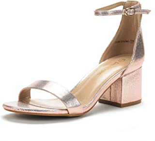 Women's Low-Chunk Low Heel Pump Sandals with Ankle Strap