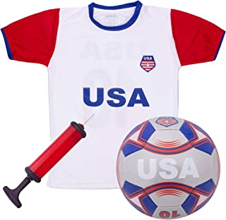 USA National Team Kids Soccer Kit | Cheer On Your Team and Wear Your National Colors | Kit Includes a Jersey, Shorts, and Soccer Ball Adorned with Red, White, and Blue Design