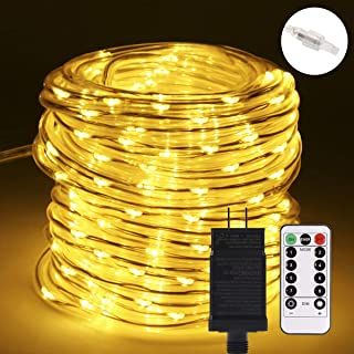 B-right Rope Lights Outdoor, 72ft 336 LED String Lights Plug in 8 Modes Extendable Dimmable Waterproof Rope String Lights for Party Patio Garden Tree Decor, ETL-Listed, Warm White with Remote Control