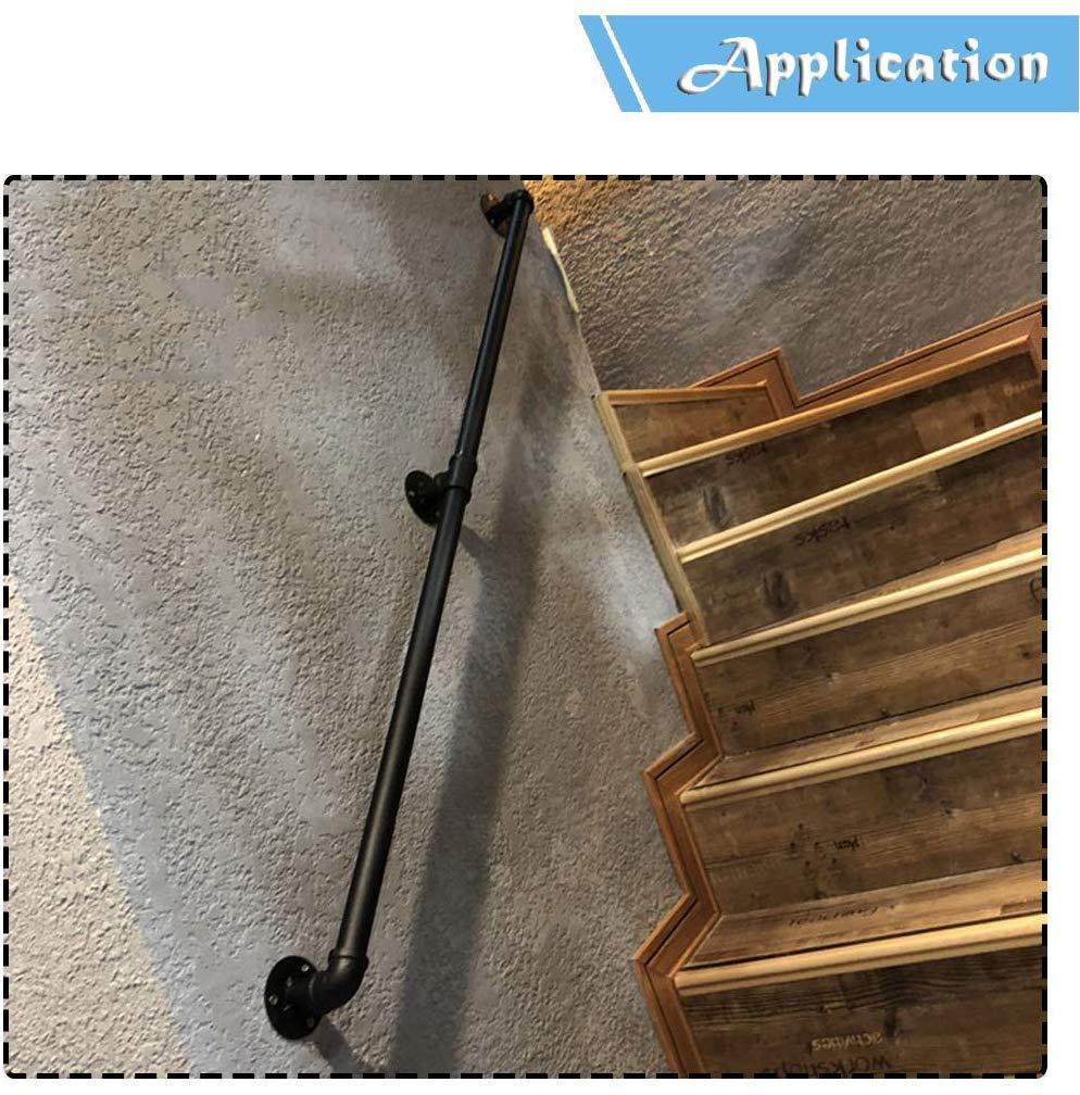 Barandillas Retro Escaleras Barandilla Barandilla Exterior Interior Negro Metal Hierro forjado | Apartamento de pasamanos de pared Pasamanos exterior directamente a la escalera o entrada al sótano: Amazon.es: Hogar
