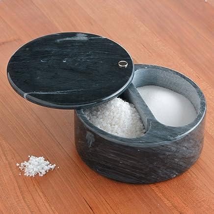 RSVP schwarz Marble Swivel Top Salt Box Dual Dual Dual Compartment 5  Diameter X 2.25  Tall B000PSSVRG | Feinen Qualität  e1245d