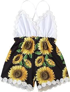 طفلة الحمالة عباد الشمس طباعة خياطة عالية الخصر بذلة الوليد أكمام رومبير السراويل القصيرة (Color : White, Kid Size : 18M)