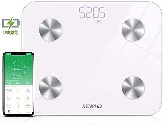 RENPHO 体重・体組成計 USB充電 体重計 スマホ連動 体脂肪計 体重/体脂肪率/皮下脂肪/内臓脂肪/筋肉量/骨量/体水分率/基礎代謝量/BMIなど測定可能 Bluetooth 体組成計 iOS/Androidアプリで健康管理 ヘルスケア同期 スマートスケール (日本語対応APP&取扱説明書)