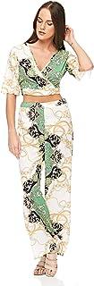 Diva London Green V Neck Clothing Set For Women