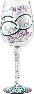 Enesco 6000739 Designs by Lolita Hand-painted Artisan, 15 oz. 60th Birthday Wine Glass, Multicolor