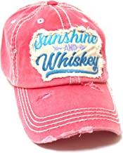 Women's Ballcap Sunshine and Whiskey Tribal Arrow Patch Embroidery Hat, Rose Pink