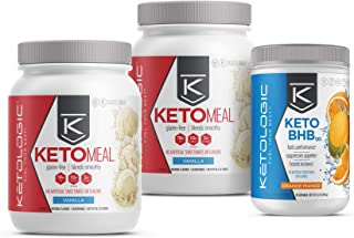 KetoLogic Keto 30 Challenge Bundle, 30-Day Supply | Includes 2 Meal Replacement Shakes with MCT [Vanilla] & 1 BHB Salt [Orange-Mango] | Suppresses Appetite, Promotes Weight Loss & Increases Energy