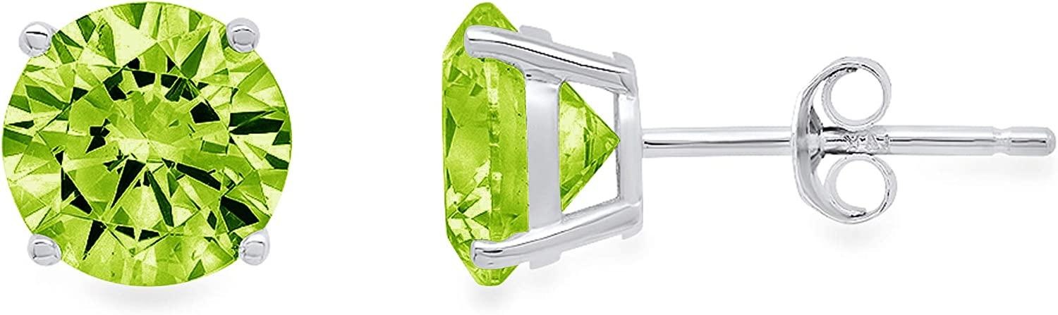 1.9ct Brilliant Round Cut Solitaire Designer Genuine Natural Light Green Peridot Gemstone Unisex Flawless pair of Stud Earrings Solid 14k White Gold Push Back conflict free Jewelry